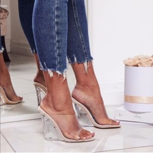Clear Nude Wedge Heel Sandal